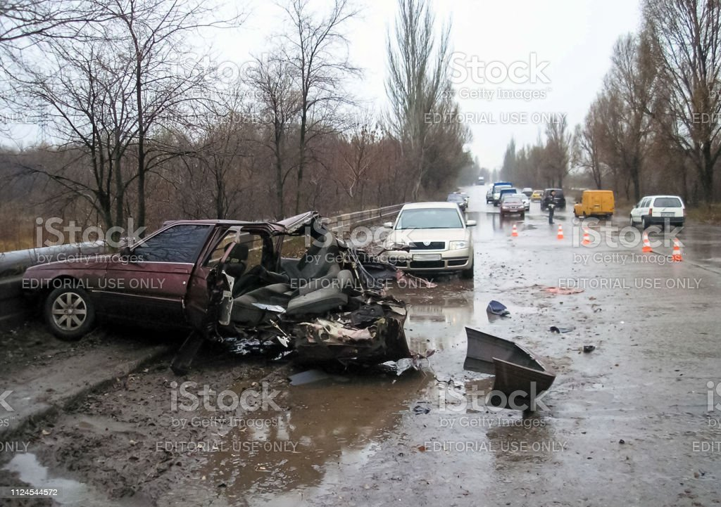 Road traffic accident on the highway in Kharkov. Consequences of a...