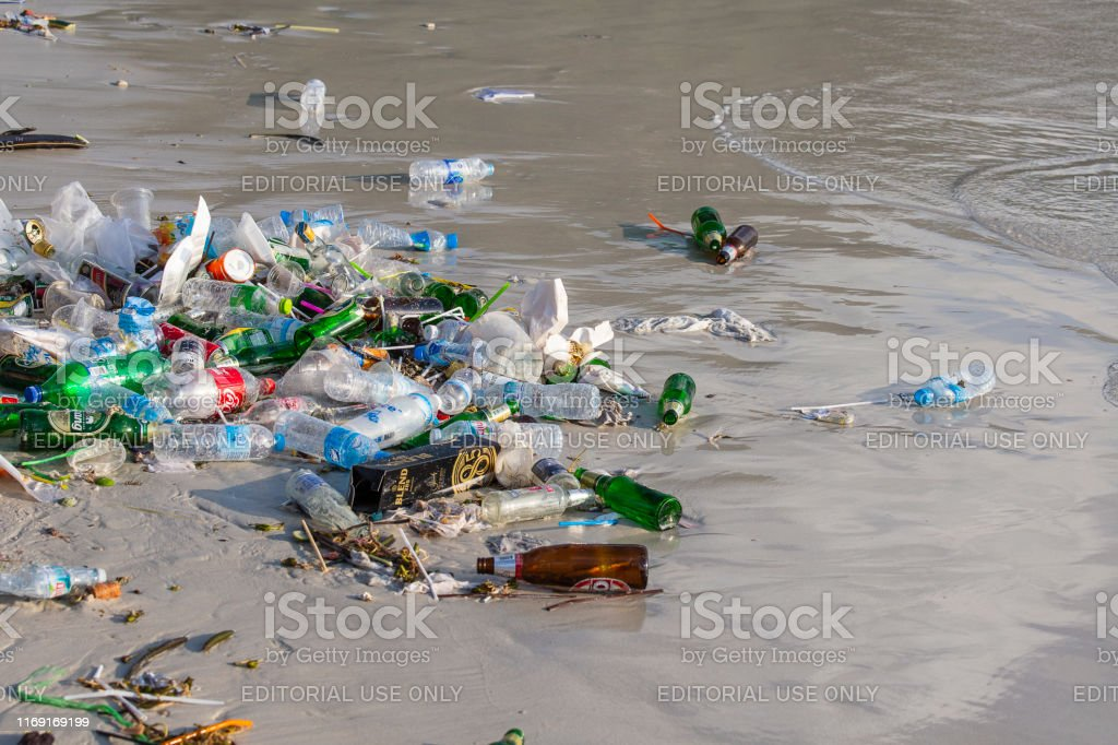 Consequences of sea water pollution on the Haad Rin beach after the...