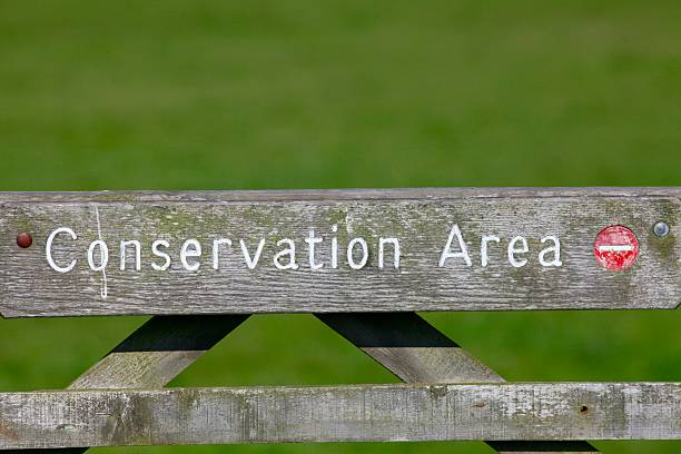 Conservation Area Wooden Gate stock photo