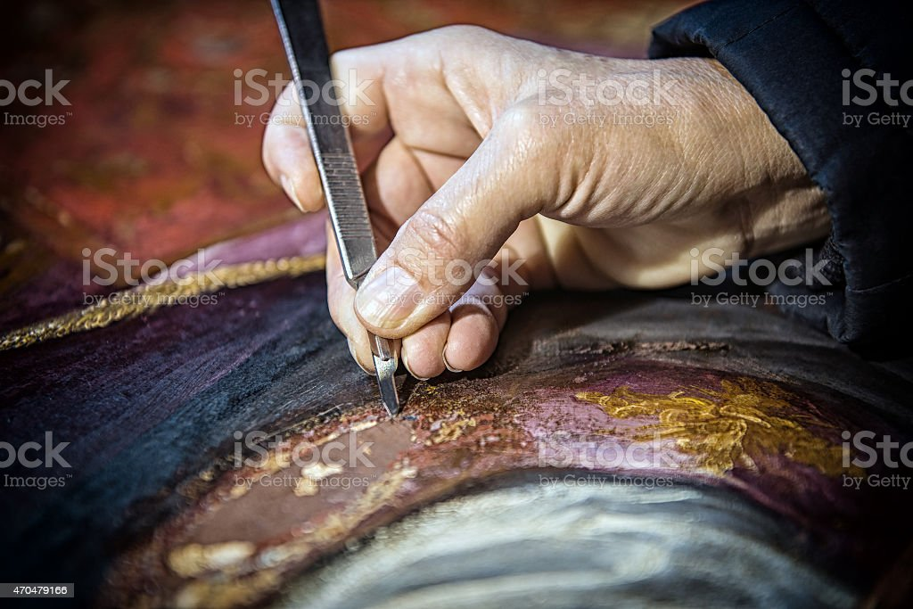 Conservation: painting surface stock photo