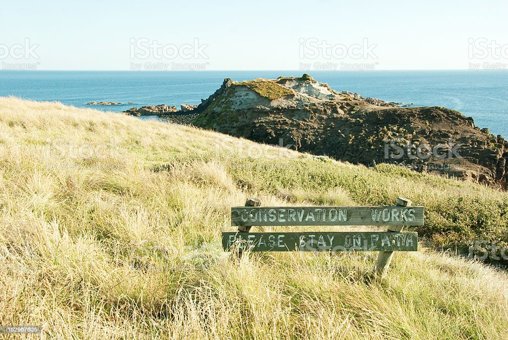 Conservation Sign With Ocean And Coastline royalty-free stock photo