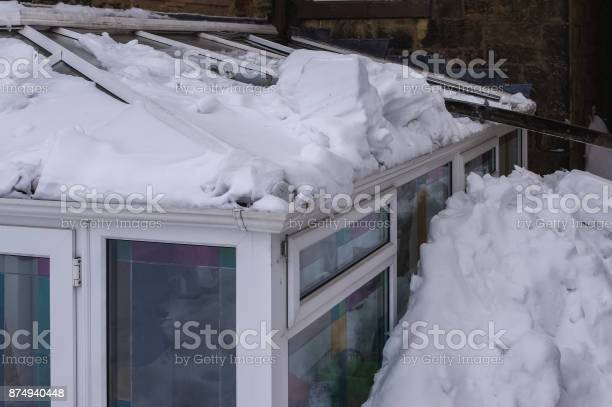 Conservatory Roof Damaged By Snow Sliding Off Main Roof Stock Photo - Download Image Now