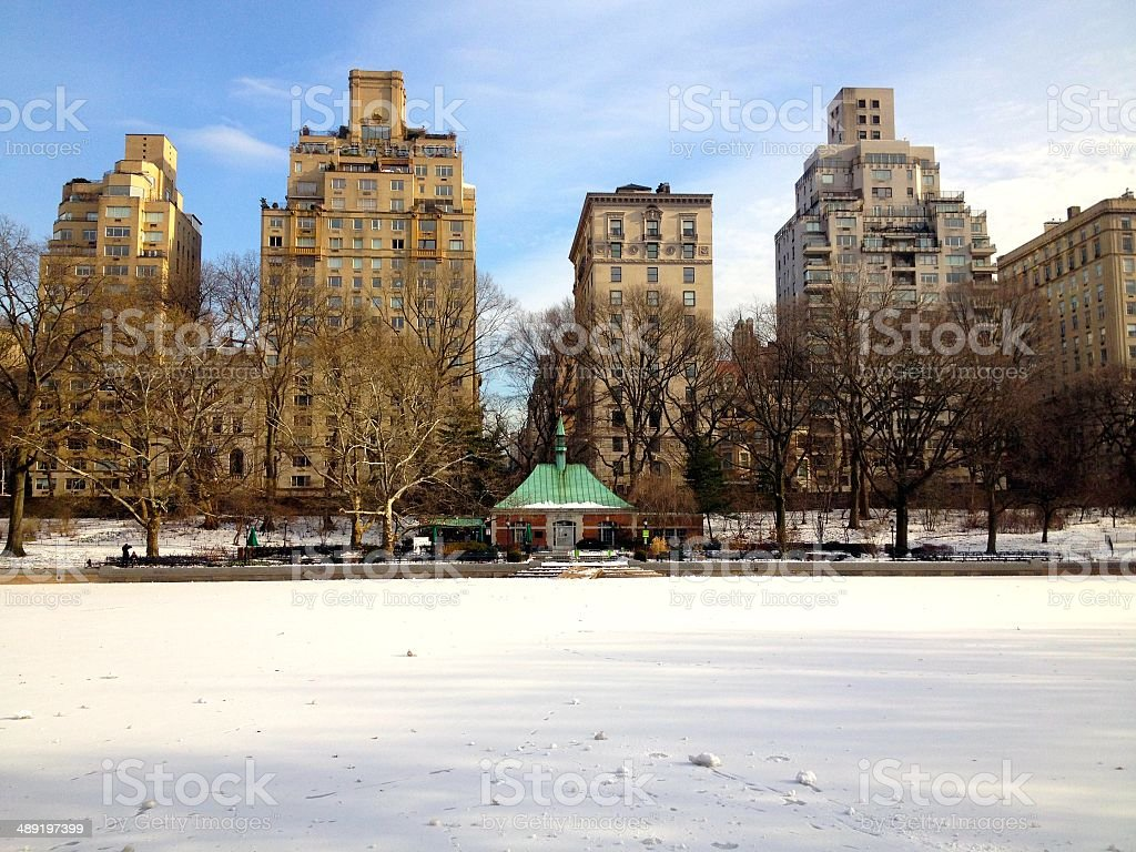 Conservatory Water during winter in Central Park royalty-free stock photo