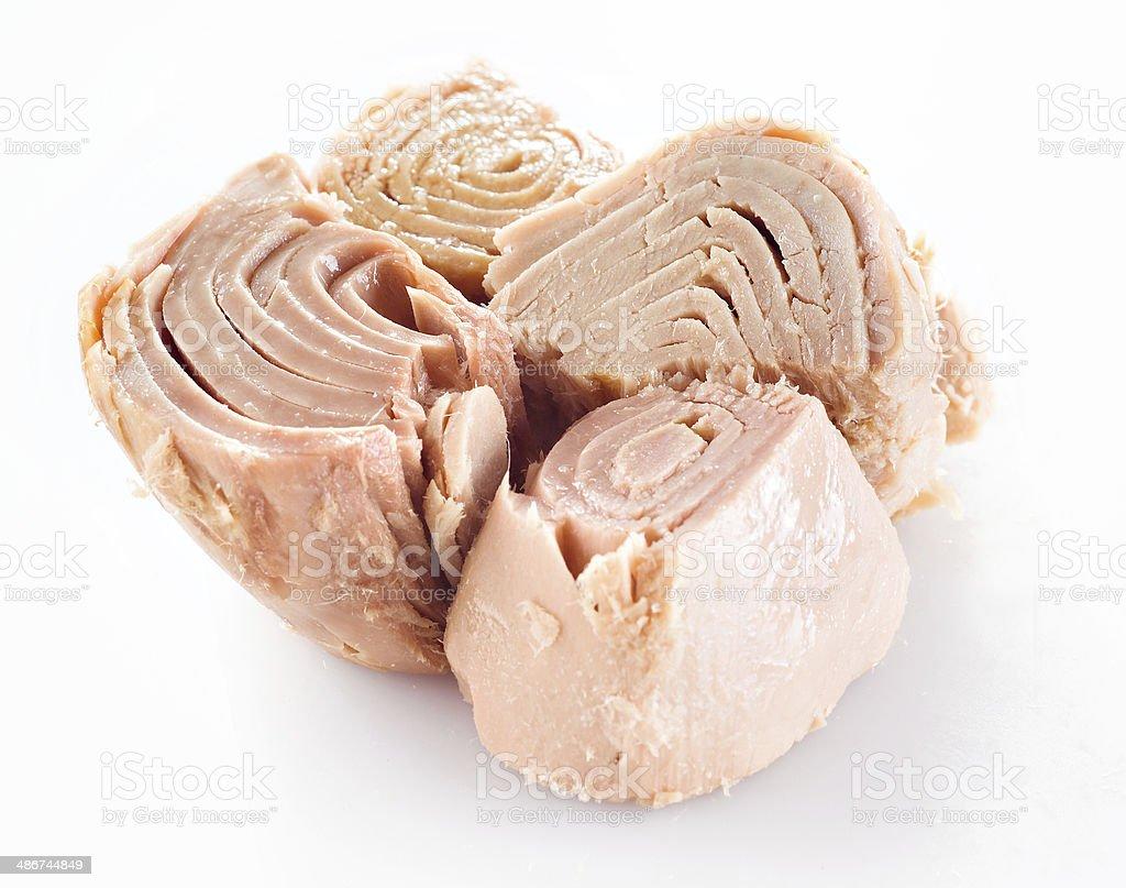 conserved tuna fish on white stock photo