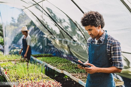 Shot of a young man using a digital tablet in a greenhouse with his partner in the background