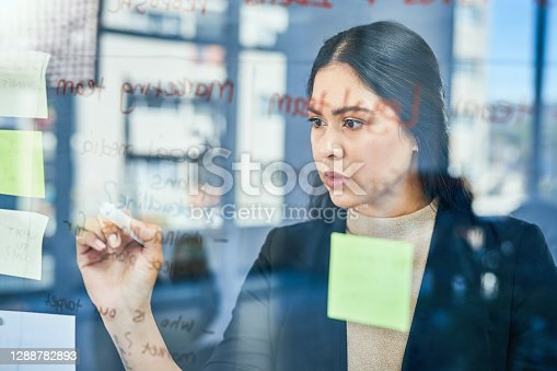 Shot of a young businesswoman brainstorming with notes on a glass wall in an office