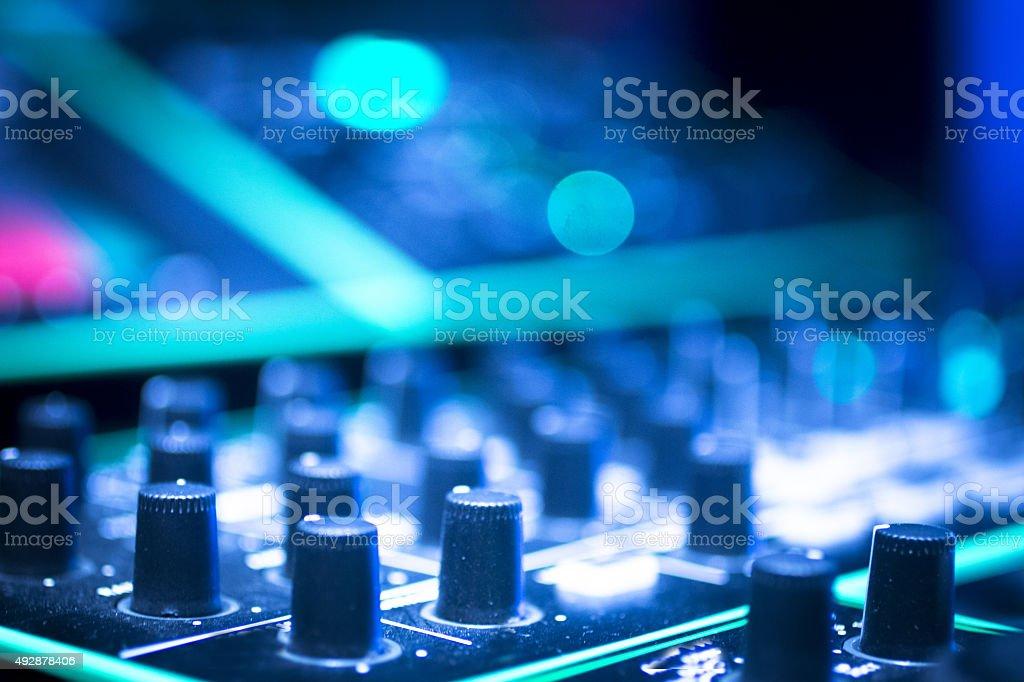 DJ console mixing desk Ibiza house music party nightclub stock photo