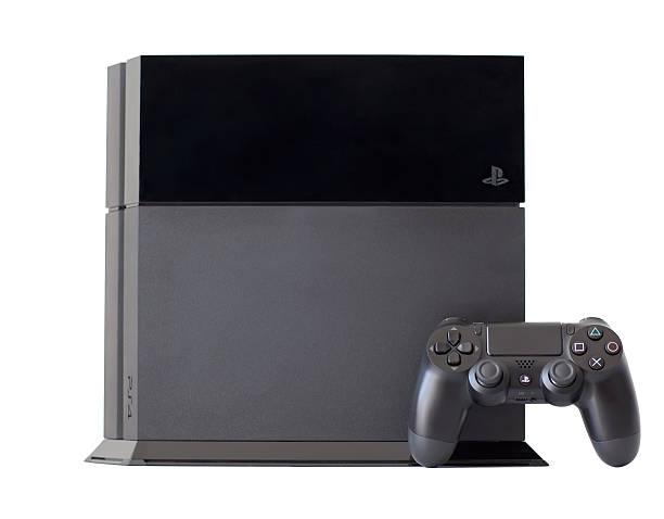 console sony playstation 4 with a joystick dualshock4 - playstation stockfoto's en -beelden