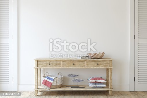 Interior in coastal style. Console table near empty white wall. Interior mockup. 3d render.