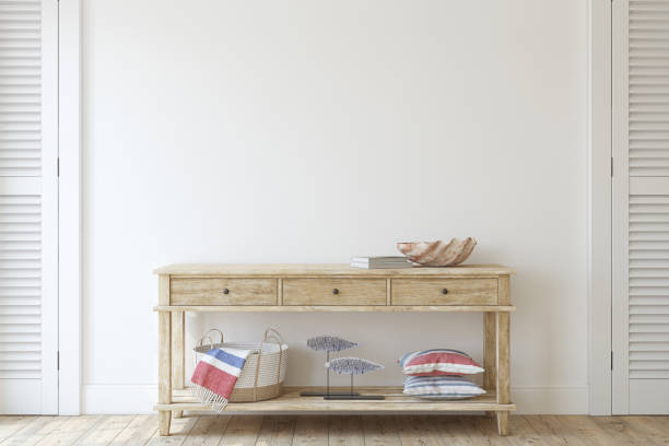 Console table near empty white wall. 3d render. Interior in coastal style. Console table near empty white wall. Interior mockup. 3d render. entrance stock pictures, royalty-free photos & images