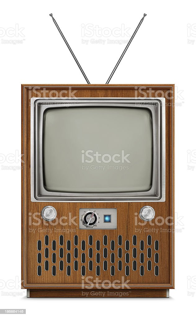 """Console Television - Blank Screen """"Vintage black and white console TV with blank screen. TV has a wooden body, metallic buttons and antenna. Isolated on white background."""" Antenna - Aerial Stock Photo"""