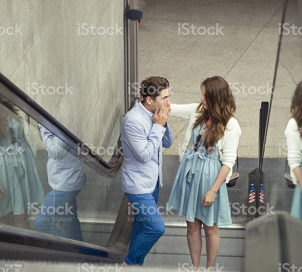Consoling a Suffering Boyfriend stock photo