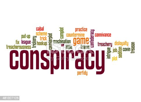Conspiracy word cloud image with hi-res rendered artwork that could be used for any graphic design.