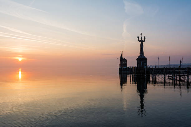 Constance in the morning Konstanzer Hafen bei Sonnenaufgang. Bodensee stock pictures, royalty-free photos & images