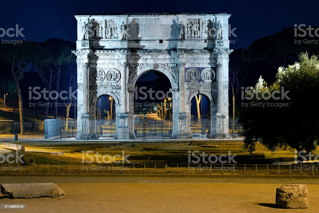Constantine arch by night, Roma stock photo