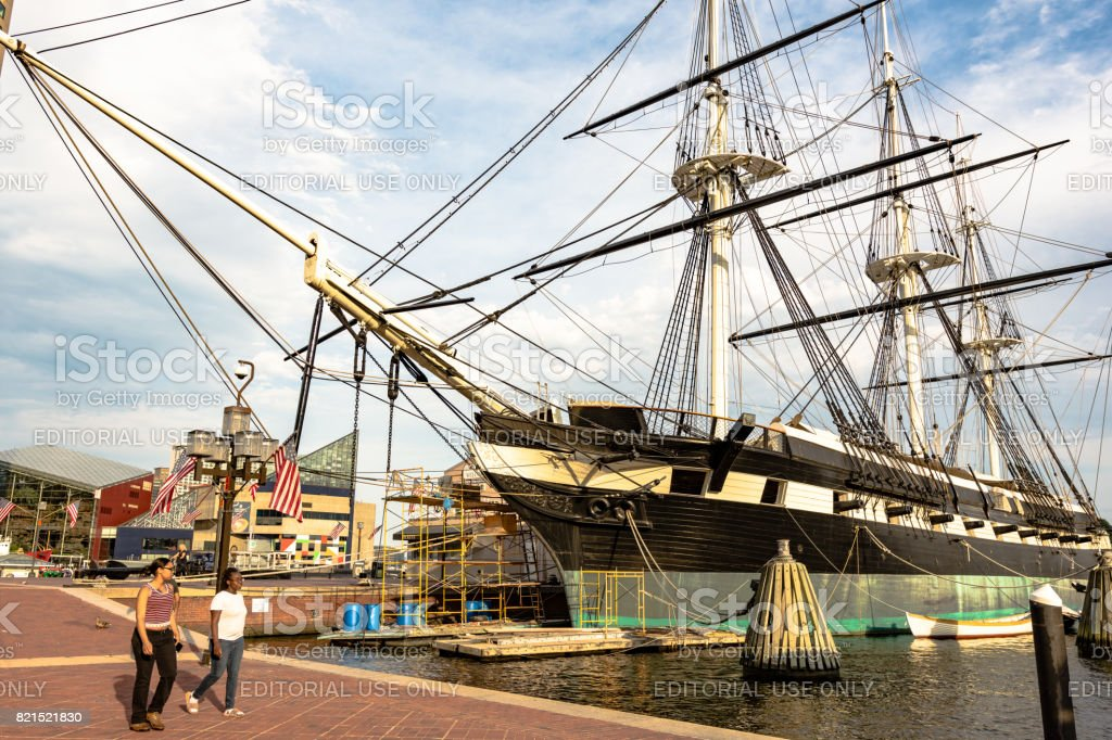 USS Constellation docked in Baltimore stock photo