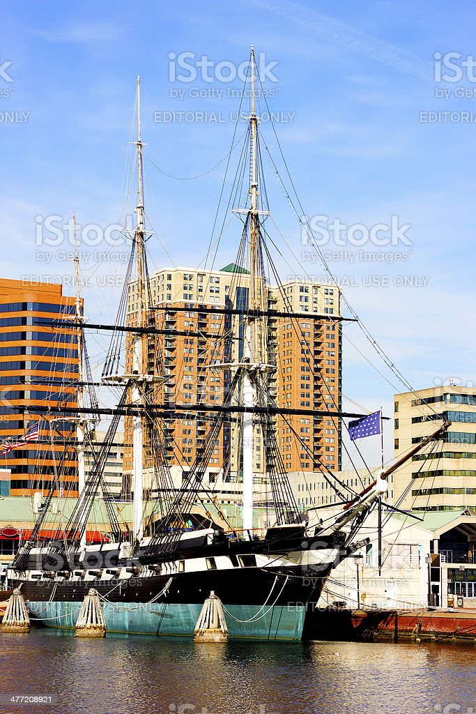 U.S.S. Constellation in Inner Harbor of Baltimore, USA. royalty-free stock photo