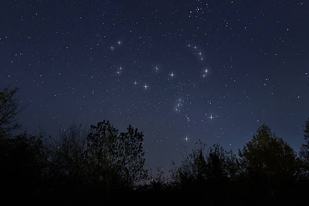Constellation of Orion in real night sky, The Hunter stock photo