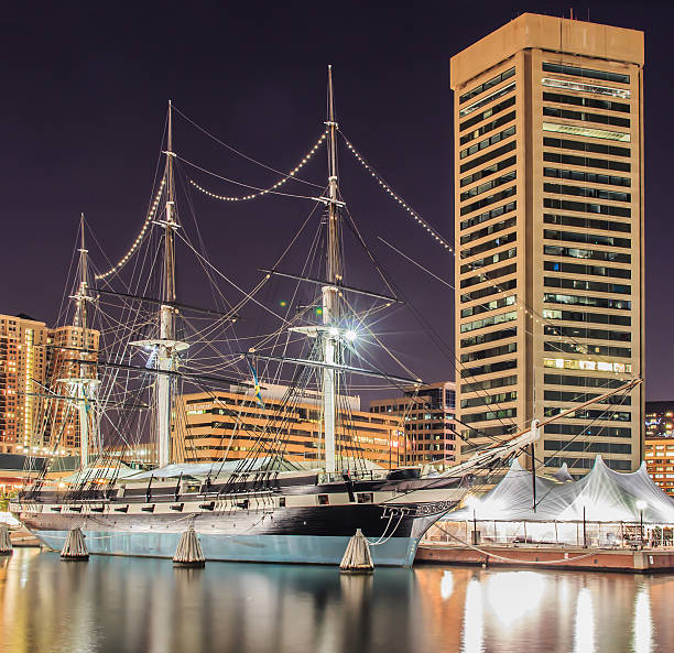 USS Constellation The USS Constellation at Baltimore's Inner Harbor. inner harbor baltimore stock pictures, royalty-free photos & images