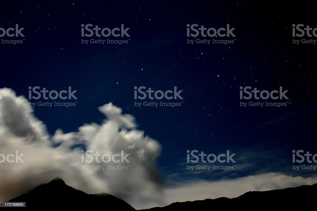 Constellation Southern Cross over the mountains of Mahe (Seychelles) stock photo