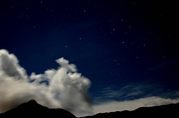 constellation southern cross over the mountains of mahe (seychelles) - south stock photos and pictures