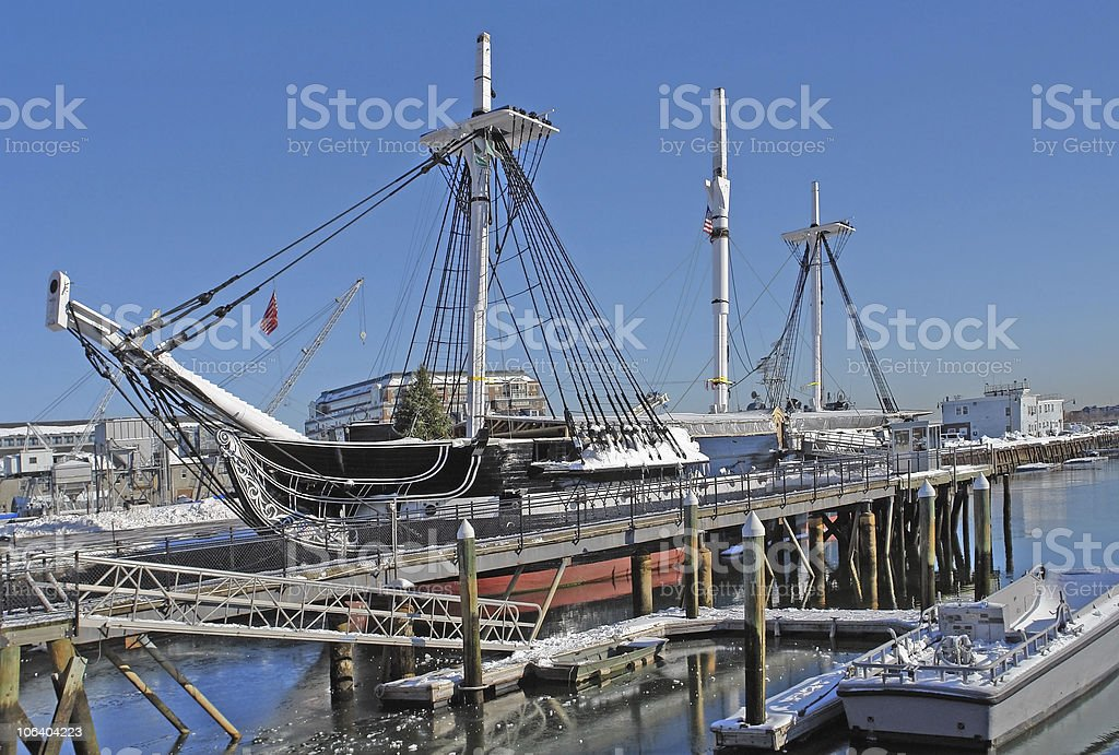 USS Constitution anchoring in Boston royalty-free stock photo