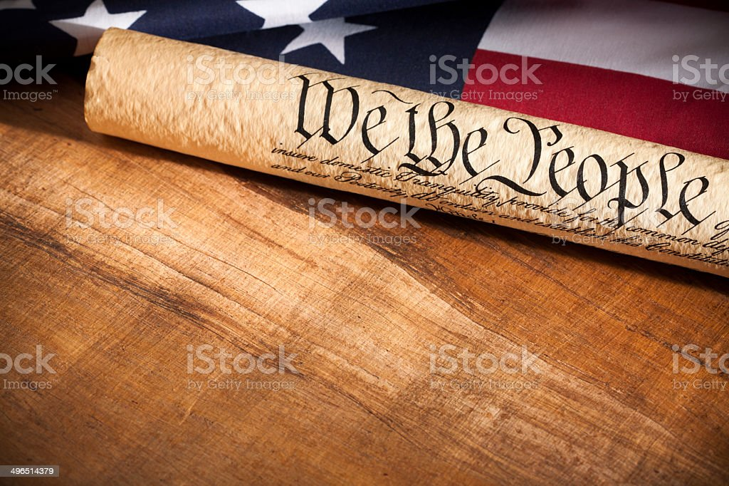 U.S. Constitution and American Flag with Copyspace stock photo