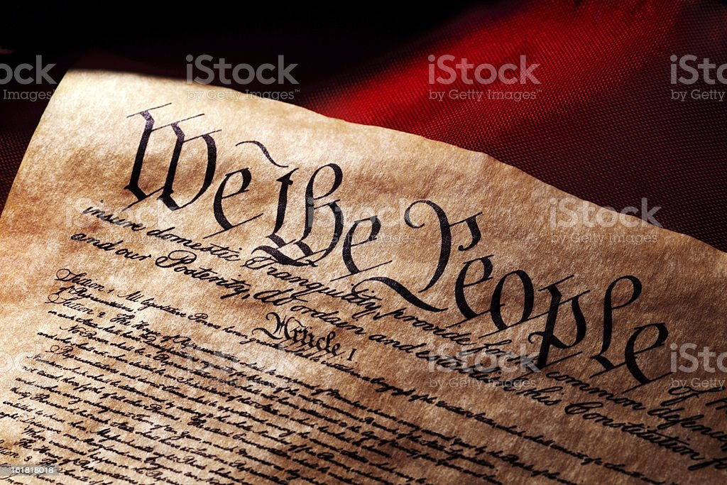 US Constitution and Flag stock photo