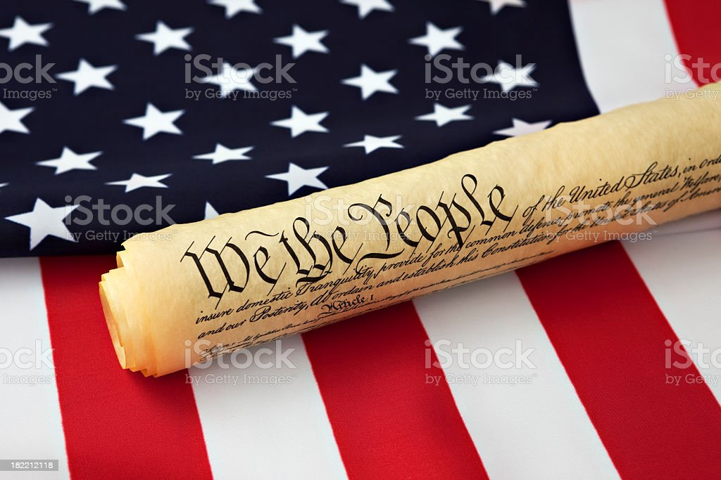 US Constitution and flag royalty-free stock photo