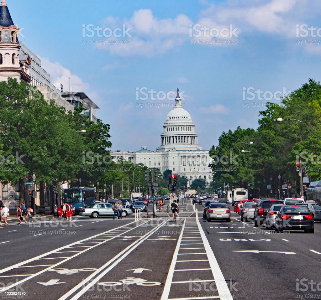 Constitution Avenue in Washington, DC, heading towads the Capitol stock photo