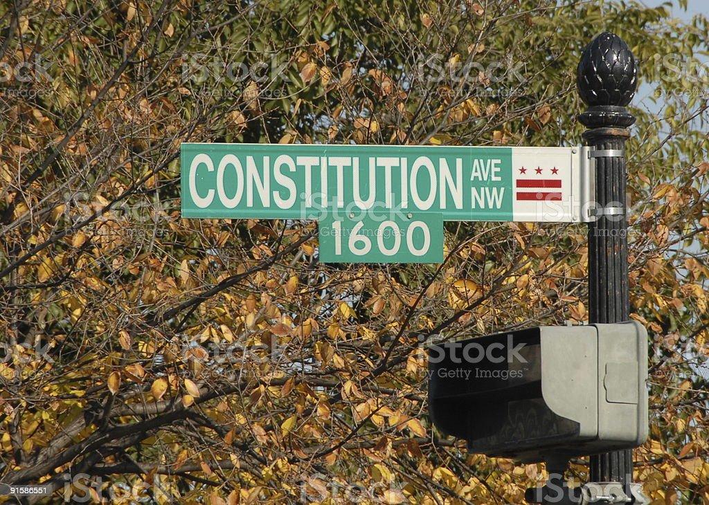 Constitution Avenue in Washington DC stock photo