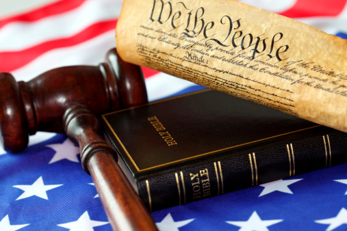 Us Constitution Bible Flag And Gavel Stock Photo - Download Image Now -  iStock