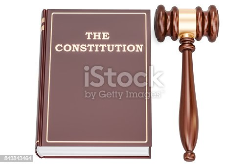 istock constitution book with gavel, 3D rendering isolated on white background 843843464