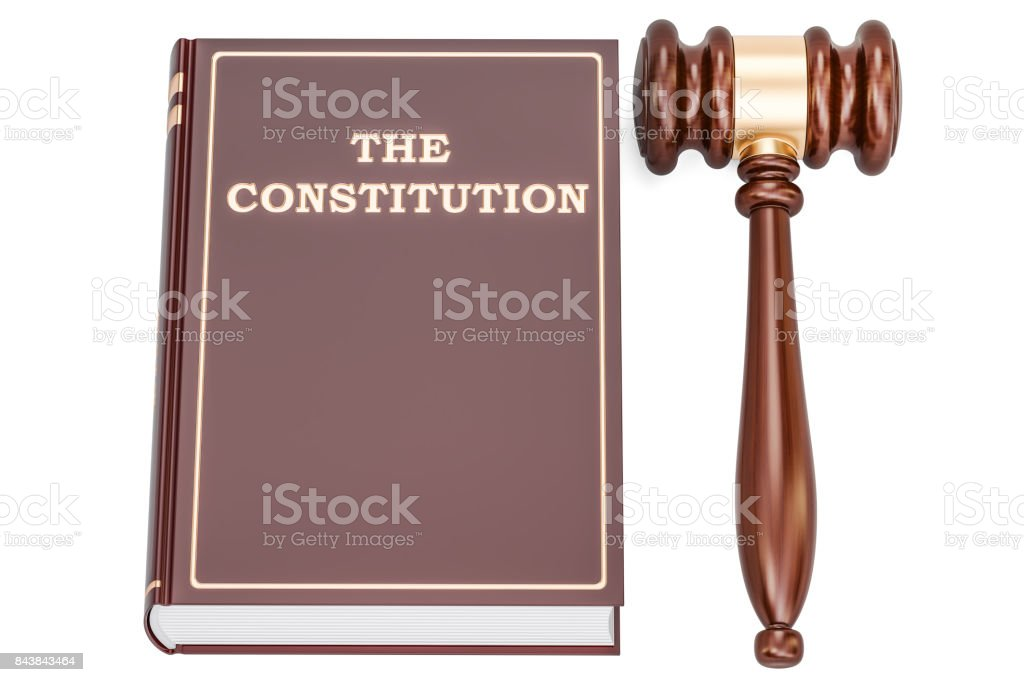 constitution book with gavel, 3D rendering isolated on white background stock photo