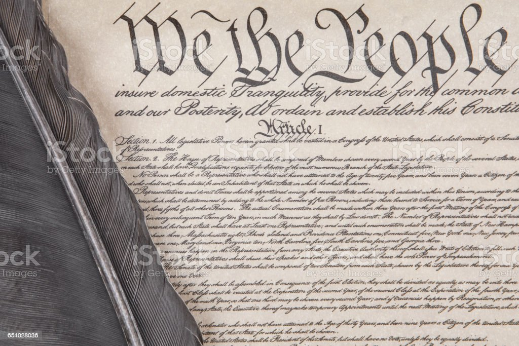 Constitution Crop with Feather Pen stock photo