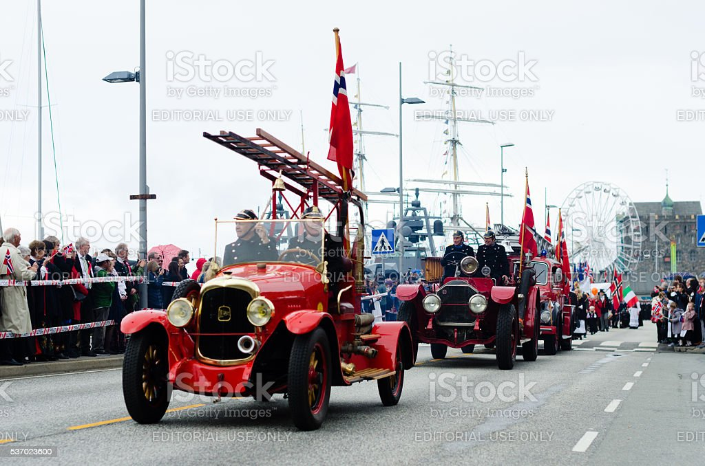 Constitution Day parade in Bergen, Norway stock photo