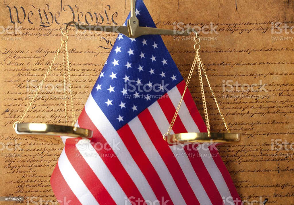 USA Constitution document,american flag and scales of justice stock photo
