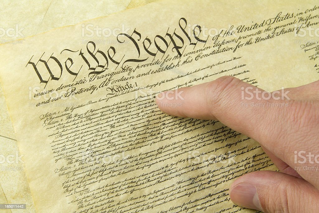 US Constitution Hand Reading royalty-free stock photo