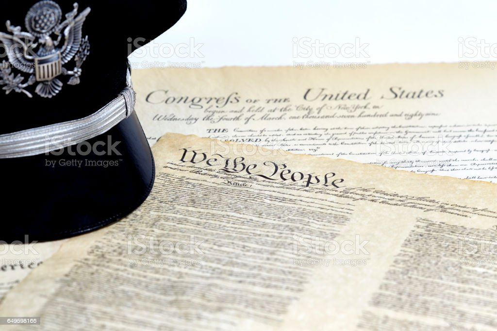 US Constitution Historical Documents with Military Hat stock photo