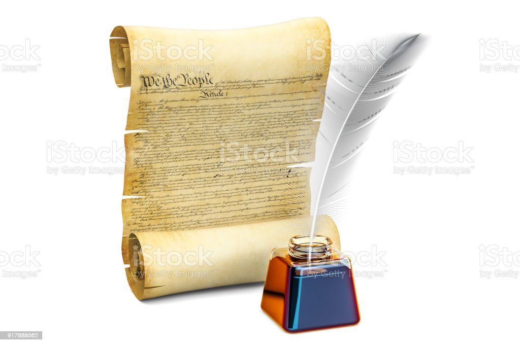 Constitution of the United States concept, 3D rendering isolated on white background stock photo