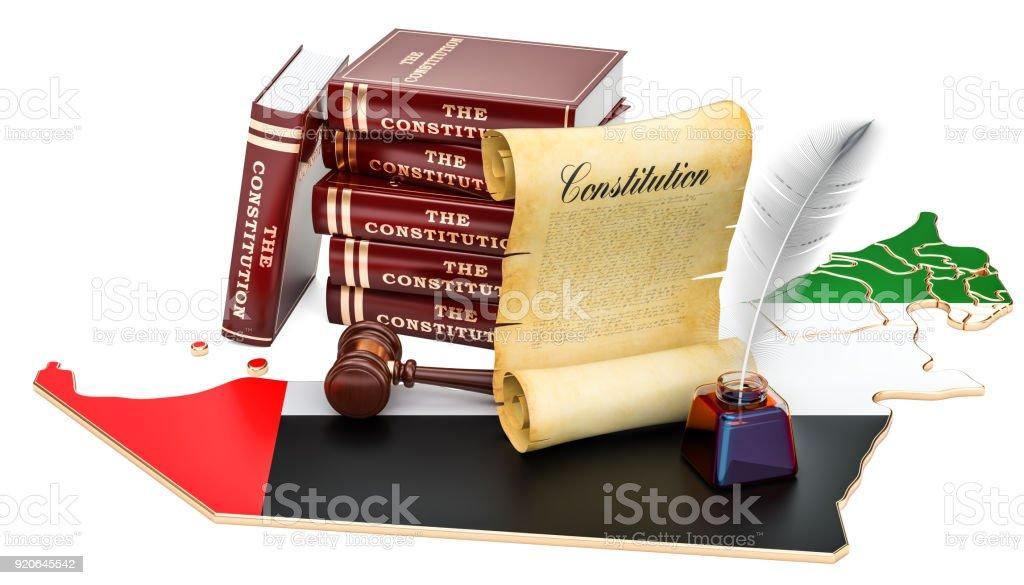 Constitution of United Arab Emirates concept, 3D rendering stock photo