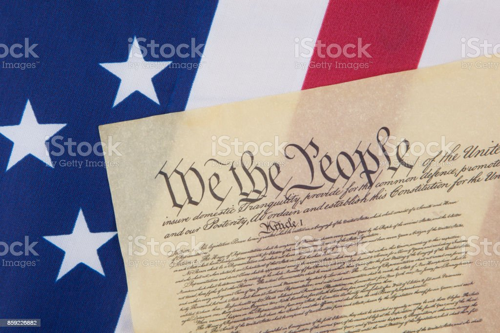 U.S. Constitution on flag stock photo