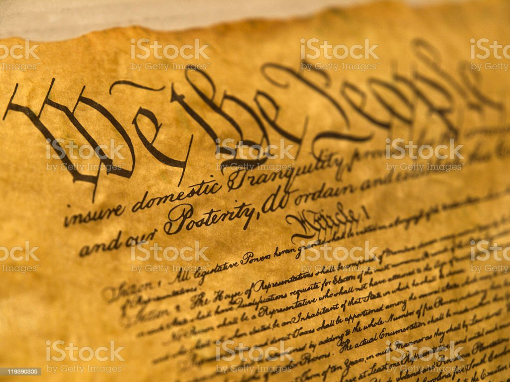USA Constitution Parchment stock photo