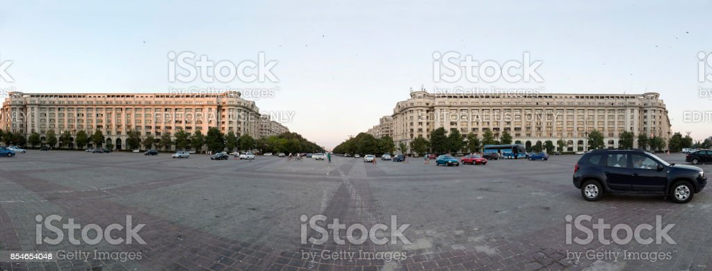 Constitution Square in the center of Bucharest, Romania. stock photo