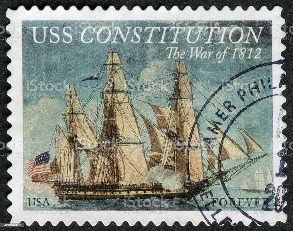 USS Constitution Stamp royalty-free stock photo