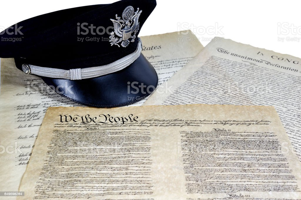 US constitution with Officers Hat stock photo