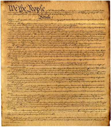 High resolution, antique copy of the Constitution of the United States of America.