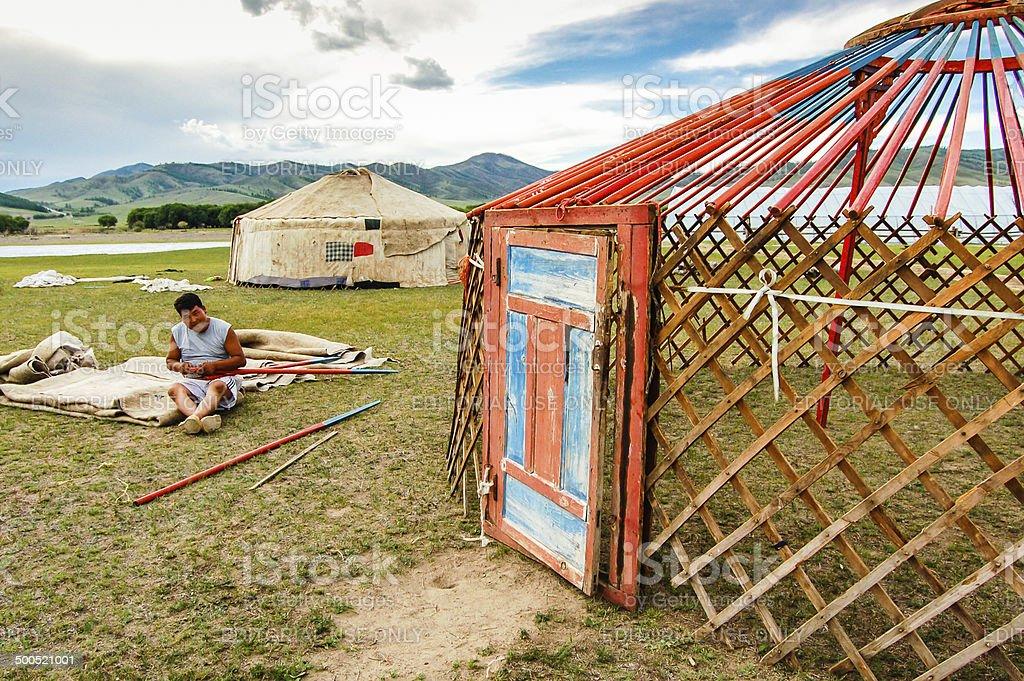 Constructing a Mongolian yurt stock photo