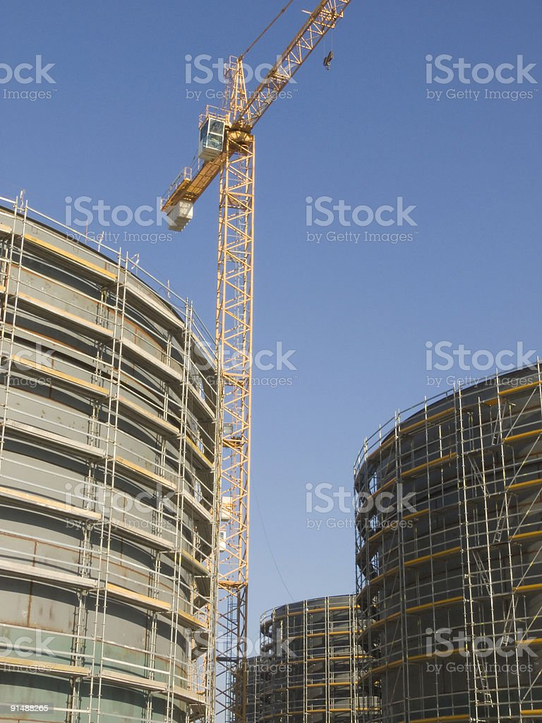 Constructing gas containers royalty-free stock photo