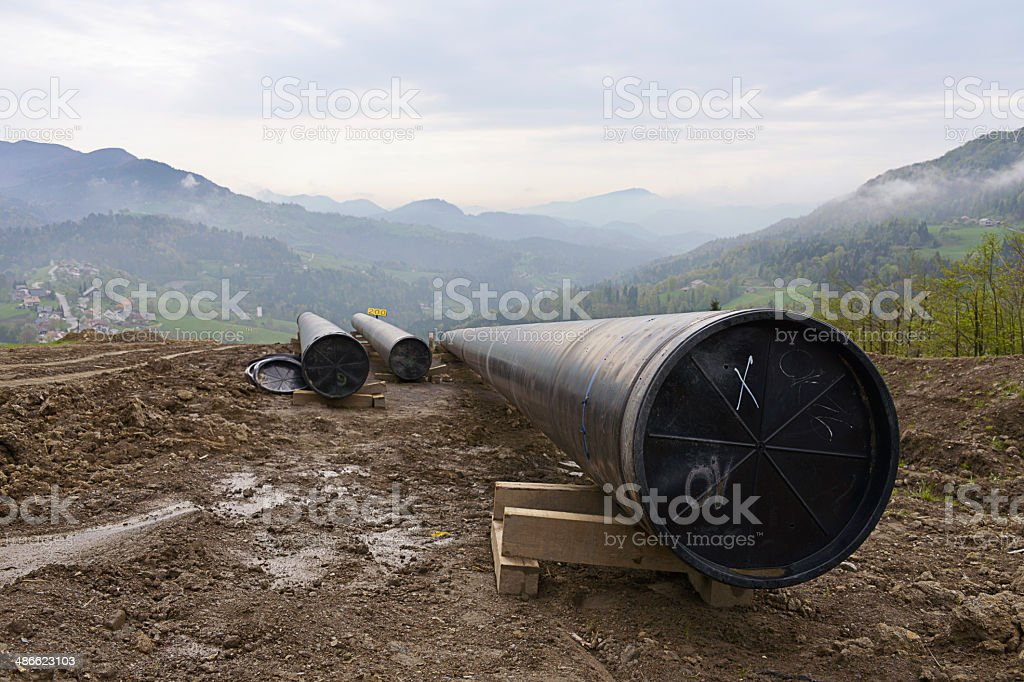 Constructing gas pipelines stock photo